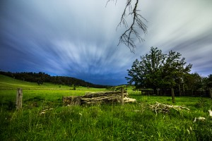 A Farmers paddock on a cloudy night