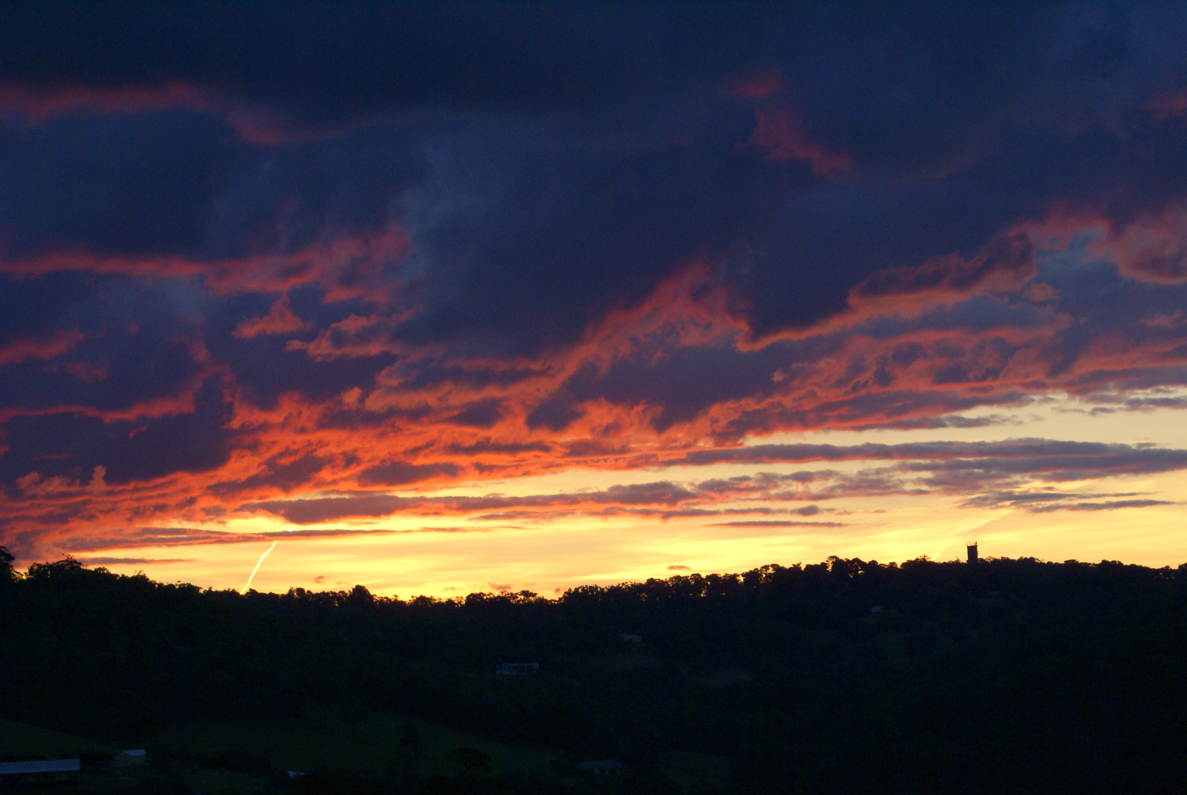 Sunset looking towards Upper Beac water tower